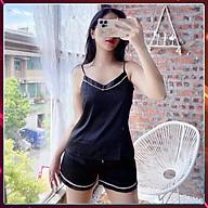 Bộ Pijama nữ quần ngắn hai dây lụa Hàn Cao Cấp, Đồ Bộ ngủ nữ mặc nhà 2 dây lụa ngắn - SN07 thumbnail