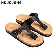 Dép unisex HuuCuong kẹp ngón pu đen đế trấu thumbnail