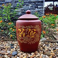 Hũ sành đựng gạo có nắp không tráng men màu nâu đỏ chữ Tài Lộc Gốm sứ Bát Tràng thumbnail