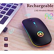 Chuột Không Dây Siêu Mỏng Có Thể Sạc Điện Chơi Game Chuyên Nghiệp Đèn LED 7 Màu A2 - Hàng Chính Hãng thumbnail