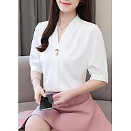 Áo sơ mi công ở kiểu áo sơ mi nữ xếp ly kèm phụ kiện ROMI 3099 - TRẮNG - L 48-55KG thumbnail