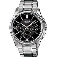 Casio MTP1375D-1AV Men s Metal Band Fluted Bezel Multifunction Black Dial Watch thumbnail
