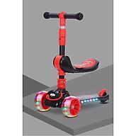 Xe trượt scooter có đèn nhạc, có Ghế ngồi chòi chân - họa tiết ngẫu nhiên thumbnail