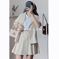 Set kiểu Hàn Quốc S.048, Set áo khoác blazer cộc tay và chân váy xếp ly cực xinh thumbnail