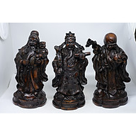Bộ tượng Tam Đa Phúc Lộc Thọ bằng đá màu nâu cỡ lớn thumbnail
