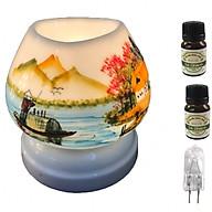 Combo Đèn xông tinh dầu tam giác TG12 và 2 chai tinh dầu sả chanh Eco oil 10ml và 1 bóng đèn thumbnail