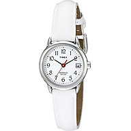 Timex Women s T2H391 Indiglo Leather Strap Watch, White Silver-Tone thumbnail