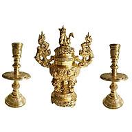 Bộ tam sự tròn 3 món lư hương đỉnh đồng đồ thờ phụng Tâm Thành Phát thumbnail