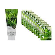 Combo Sữa rửa mặt chiết xuất từ trà xanh 3W CLINIC GREEN TEA CLEANSING FOAM và Bộ 10 gói mặt nạ dưỡng ẩm da chiết xuất nha đam 3W Clinic Fresh Aloe Mask Sheet thumbnail