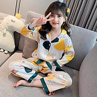 Bộ Ngủ Pijama Cho Bé Gái Lụa Satin Nhiều Màu Dài Tay 8-25kg - BPN05 thumbnail