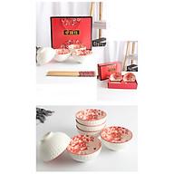 Bộ Chén + Đũa Phong Cách Trung Hoa Đỏ - Hộp Quà - 4 Chén thumbnail