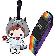 Combo Dây đai vali và thẻ hành lý, thẻ treo tên vali hình hoạt hình cute (giao hàng ngẫu nhiên) thumbnail
