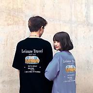Áo thun nữ tay lỡ SAM CLO freesize phông form rộng Unisex, mặc lớp, nhóm, cặp in chữ leisure travel hình XE BUS thumbnail