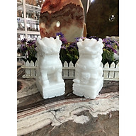 Cặp kỳ lân phong thủy đá cẩm thạch trắng - Cao 20 cm thumbnail