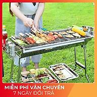 Bếp nướng BBQ Bếp nướng than hoa ngoài trời có thể gấp gọn Chất liệu inox không gỉ chân cao kèm phụ kiện thumbnail