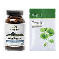 Combo Viên uống làm đẹp da Organic India Skin Renew + Mặt nạ dưỡng da ngừa mụn Beauskin Centella Cica thumbnail
