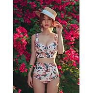 Đồ bơi nữ Tankini hai mảnh đi biển với họa tiết hoa quần cạp lưng cao, áo hai dây bảng bự cúp ngực quyến rũ tinh tế BKNGeH034 thumbnail