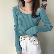 Áo croptop dệt kim viền bèo thun trơn muticolor ulzzang - MSP T15 thumbnail
