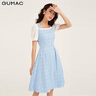 Đầm nữ dáng xòe GUMAC DB1104 thiết kế caro phối bèo thumbnail