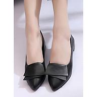 Giày cao gót nữ, giày cao gót nữ đế 3 phân GCG04, chất liệu da PU siêu thoáng, hàng nhập Quảng Châu (Đen) thumbnail