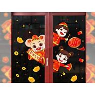 Decal dán tường trang trí tết chuột thần tài ngó cửa thumbnail