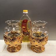 combo 2 chiếc đèn thờ đốt dầu đế sen nhũ kimsa Đk 12 cm , cao 17 cm tặng 1 chai dầu 1 lít) TP1018 thumbnail