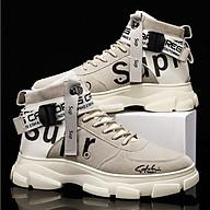 Giày Sneaker Nam Cổ Cao Da Lộn, Giày Bốt Nam Phối Chữ Trẻ Trung, Năng Động QA - 375 thumbnail