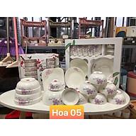 Bộ đồ ăn gốm sứ cao cấp 11 món bát, đĩa, tô, chén gốm sứ - hoa đôi tím trắng thumbnail