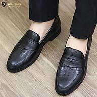 Giày Lười Nam - CHẤT LIỆU DA BÒ 100% G046 ĐEN LÍ thumbnail