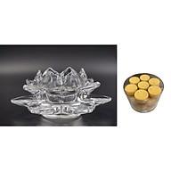 Chân đế đặt nến thờ thủy tinh - đồ thờ AN13104 - kèm hộp nến bơ 28 viên thumbnail