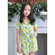 Đồ bộ Pijama bé gái màu xanh hình quả chanh vàng thumbnail