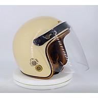 Mũ Bảo Hiểm 3 4 SRT- Viền Đồng - Màu Kem - Gắn Kính Flat Chống Xước thumbnail