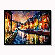 Tranh cao cấp Đêm trên kênh nhỏ trong thành phố cổ Model AZ1-0268 thumbnail