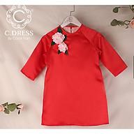 Áo dài cách tân cho bé, áo tân thời cho bé màu đỏ cho bé diện tết ( không gồm váy) thumbnail