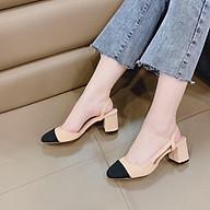 Sandal cao gót mũi tròn pha màu gót cao 5cm thumbnail