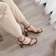 Sandal Giày Cao Gót Nữ Đẹp Xỏ Ngón Quai Chéo Cách Điệu Đế Cao 5 Phân Phong Cách Hàn Quốc. thumbnail