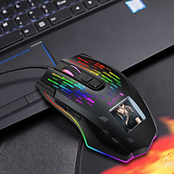 HXSJ J500 USB Wired Gaming Mouse RGB Gaming Mouse with Display Screen Six Adjustable DPI for Desktop Laptop thumbnail