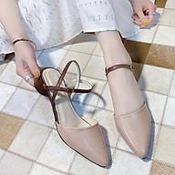 Giày cao gót bít mũi, hở gót cao 3,5 phân đế tròn, thiết kế sang trọng, tôn dáng SD917 ( TẶNG 02 ĐÔI TẤT BÓNG CHÀY THỂ THAO - MÀU NGẪU NHIÊN ) thumbnail