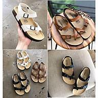Giày sandal xỏ Fullbox ngón nữ đế trấu birken màu trắng - Dép quai hậu nữ VNXK - SATA22T . thumbnail