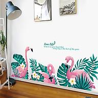 Decal dán tường trang trí phòng ngủ, lớp mầm non- Hạc hồng lá xanh- mã sp DQR9099 thumbnail
