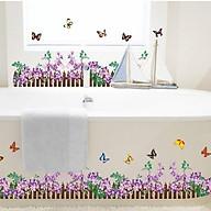 Decal trang trí dán chân tường hàng rào hoa đầy màu sắc cho bé AY872 thumbnail
