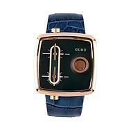Đồng hồ đeo tay nam chính hãng Guou dây da mặt vuông đẹp viền vàng độc lạ chống nước thumbnail