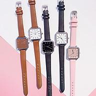 Đồng hồ dây da thời trang nữ Cvd1, mặt vuông nhiều màu. thumbnail