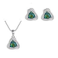 Set phụ kiện bông tai dây chuyền bạc Ý S925 đá opal xanh cao cấp thumbnail