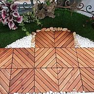 20 Tấm ván sàn gỗ vỉ nhựa lót ban công sân vườn 6 nan chéo màu vàng, nâu ghi- THÙNG VÁN THẢM GỖ LÓT NỀN BAN CÔNG thumbnail
