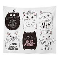 Thảm tranh vải treo tường họa tiết con mèo tặng kèm móc treo thumbnail