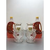 Đôi đèn thờ đốt dầu thuỷ tinh hoa sen nỗi( tặng kèm 2 chai dầu 500ml) - TL216 thumbnail