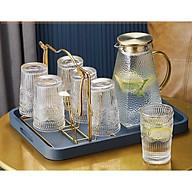 Bộ bình đựng nước kèm 6 cốc thủy tinh crystan hoa văn dập nổi tròn - ANTH473 thumbnail