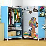 Tủ vải quần áo 3D 1 buồng 2 ngăn cao cấp MS 032 thumbnail