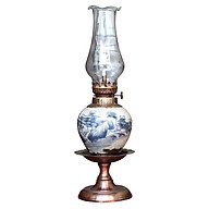 Đèn thờ dầu men rạn vẽ phong cảnh chân đồng thấp gốm sứ Bát Tràng (đèn dầu, đèn thờ cúng) thumbnail